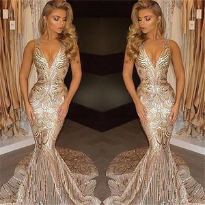 FATAPAESE Luxury Gold Evening Dresses Long Sleeveless V Neck Mermaid Evening Gowns For Women Dress Party Robe De Soiree