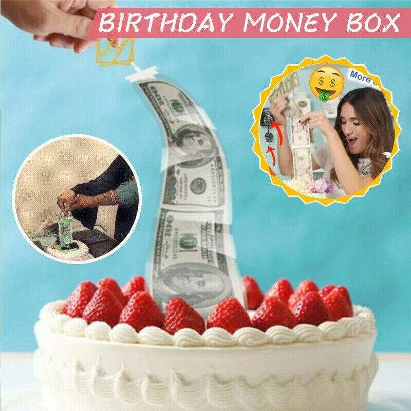 Accesorios para pastel de cumpleaños divertido sorpresa caja dinero hacer Sorpresa Juguete cumpleaños decoración pastel Tirar dinero Accesorios