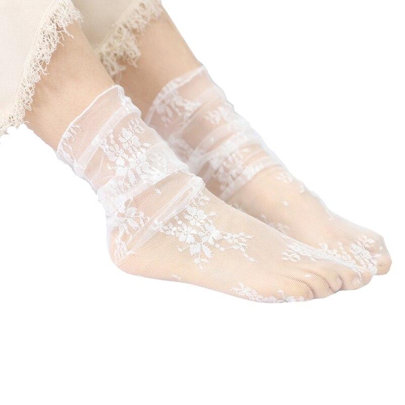 Новое поступление, Летние супер тонкие кружевные дышащие уличные модные повседневные Молодежные женские свободные носки-капельки средней ...