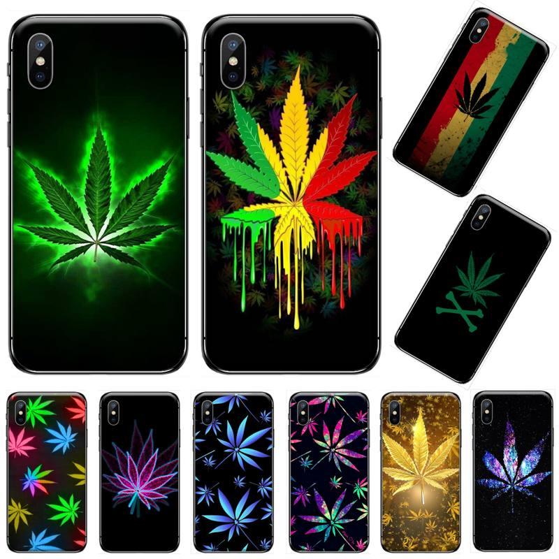Hierba marihuanna planta color negro de la caja del teléfono de la cáscara del teléfono de Capa para iphone 5 5s 5c se 6 6s 7 8 plus x xs x xr 11 pro max