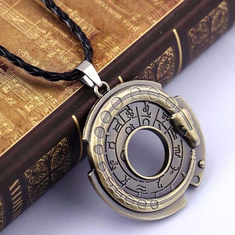 Moda ouroboros cobra amuleto colar pingente encantos sinais do zodíaco sorte protetor talismã colares jóias