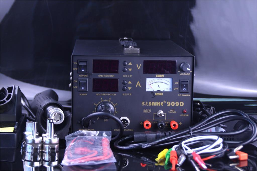 Saike 909D Heat Gun Desoldering Station Power Multi-Function 3 in 1 Constant Temperature Soldering Iron Soldering Station enlarge