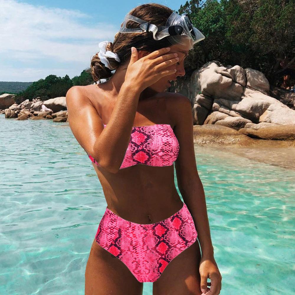 Sexy Tier Gedruckt Badeanzug Weiblichen Push-Up Bikini Hohe Taille Badeanzug Verband Mayo Bandeau Bademode Frauen 2020 Biquini