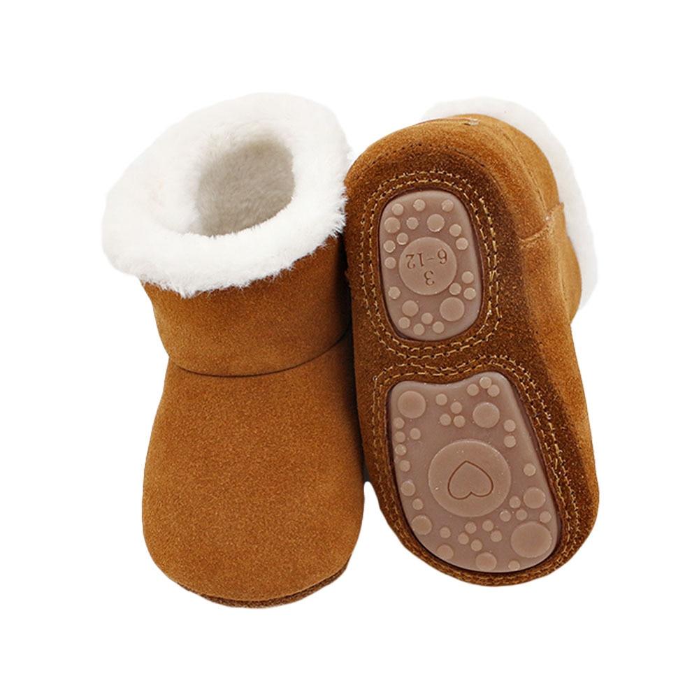 أحذية أطفال شتوية من الجلد الطبيعي ، أحذية بنات قطيفة ناعمة ، أحذية أطفال غير قابلة للانزلاق ، أحذية ثلج للبنات
