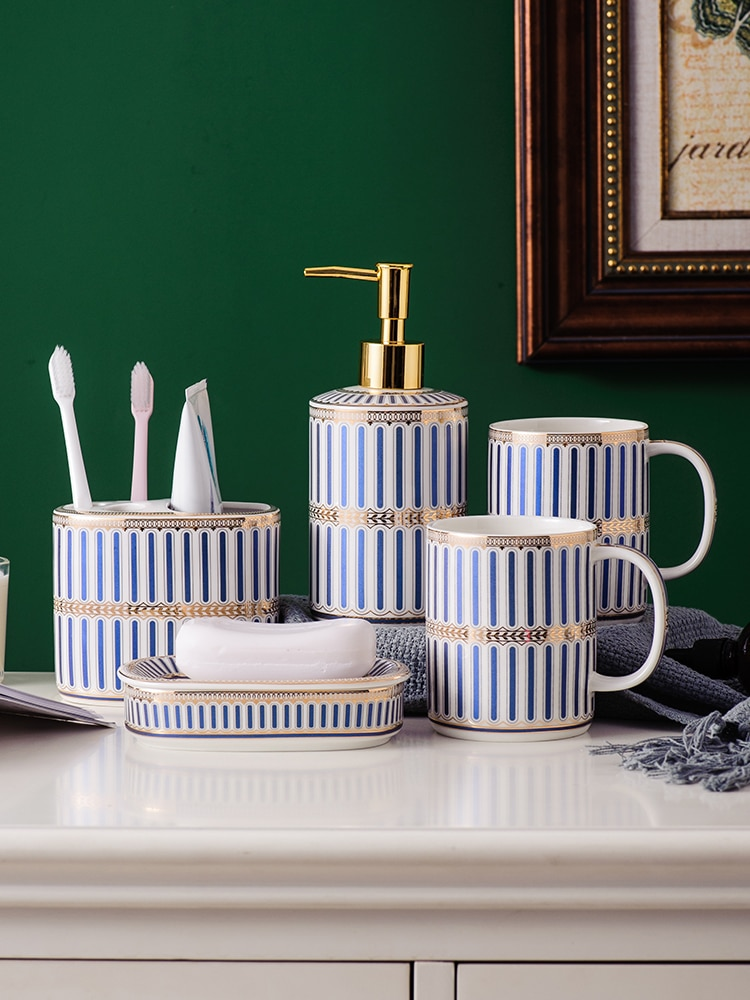 Nordic simple vertical grain Bathroom set Ceramic Five-piece set Bathroom suit Bathroom Accessory enlarge