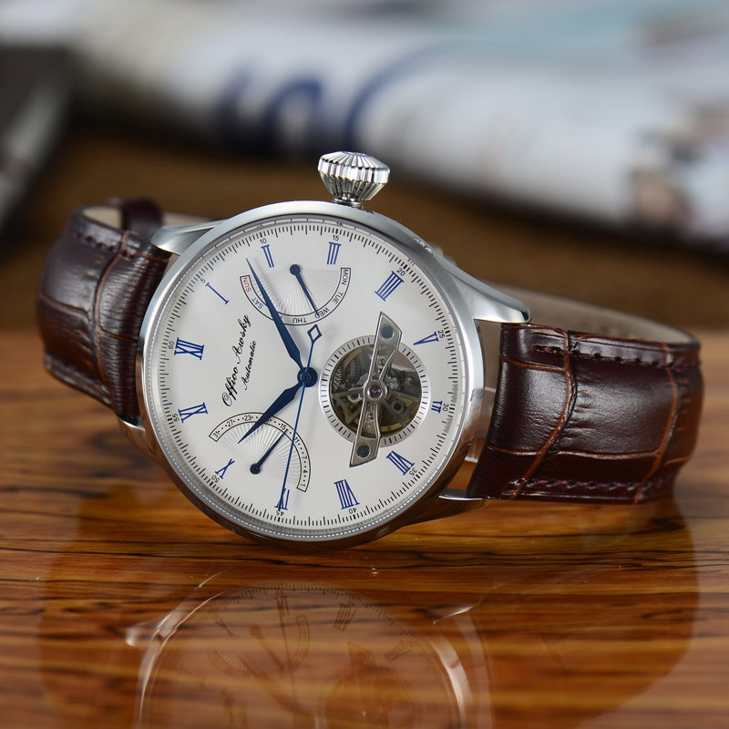 316L Acero inoxidable zafiro cristal hombres negocio esqueleto St2504 seagull movimiento automático reloj