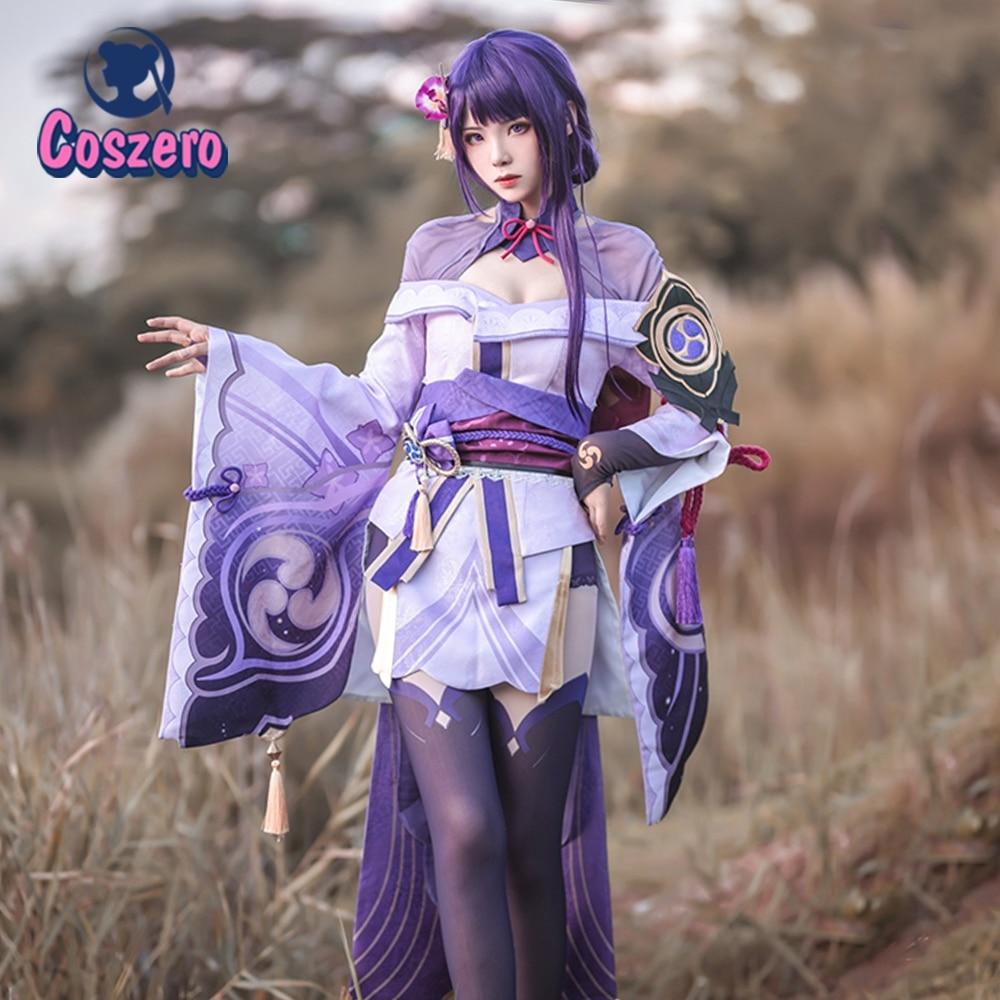 Game Genshin Impact Raiden Shogun Cosplay Costume  Party Outfit Sexy Women Uniform Dress Belt Full S