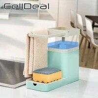 3-en-1 distributeur de savon porte-serviettes porte-eponge cuisine etagere de rangement salle de bain multifonctionnel nettoyage serviette organisateur outil