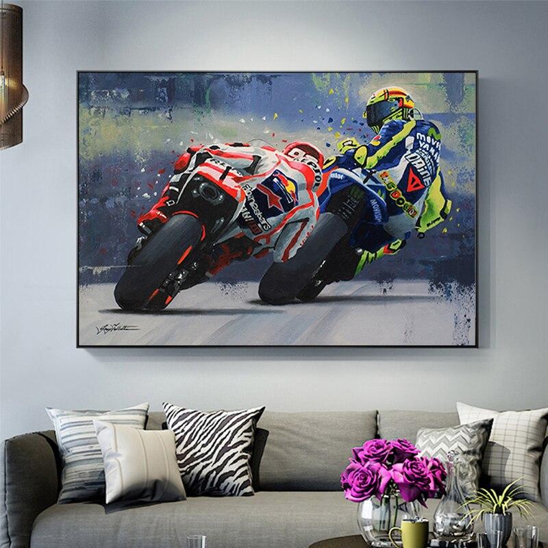 Pósteres impresos al óleo acuarela Valentino Rossies póster motocicleta lienzo pintura pósteres impresos arte de pared imagen para decoración para sala de estar
