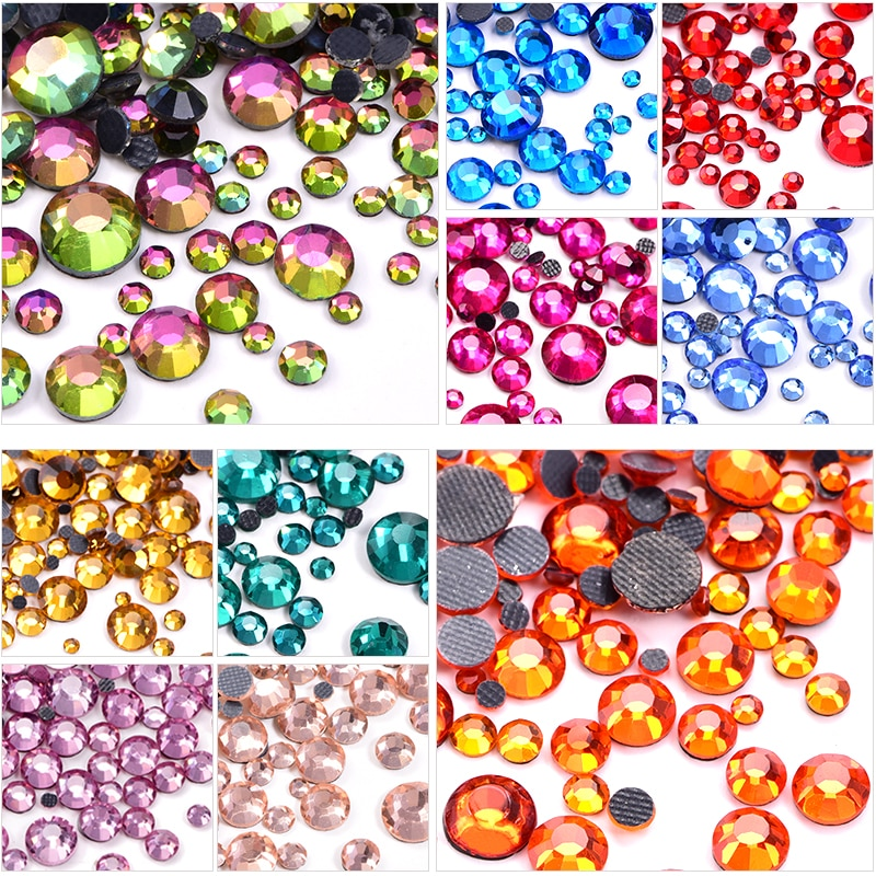 SS6-SS30 Glass Strass Crystal DMC Hot Fix Rhinestones Iron On Stones Flatback Clear Hotfix Rhinestones For Wedding Dress Y0082