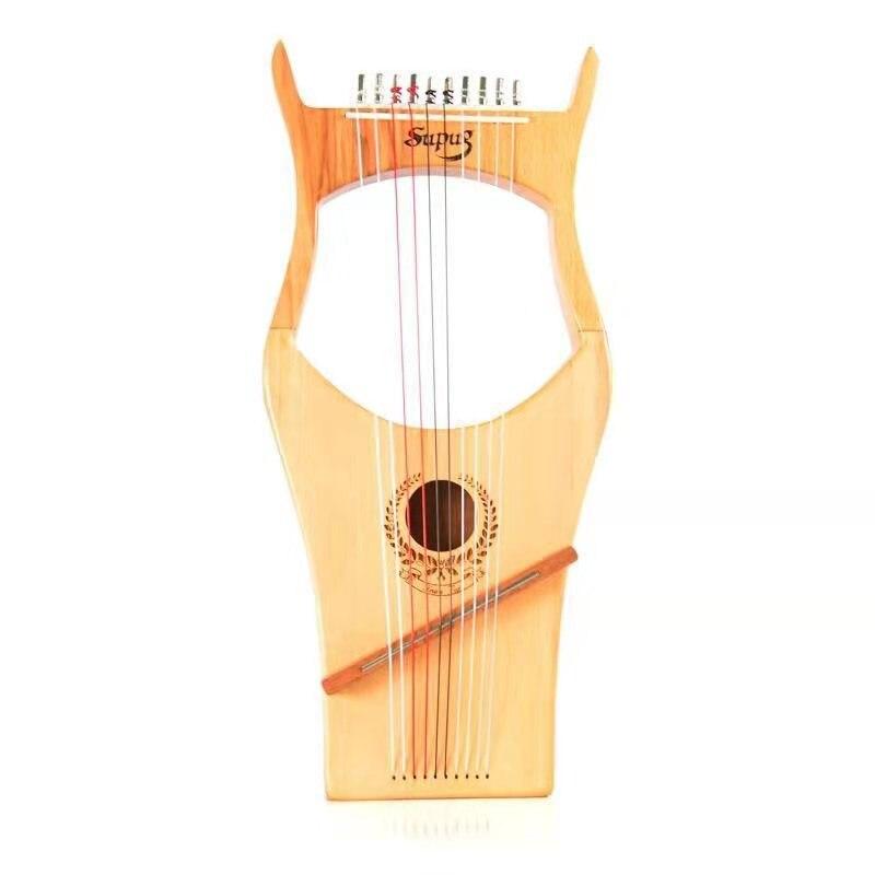 Carimba chapa de madera maciza Lyaya pulgar Lire diez cuerdas arpa portátil Lycra