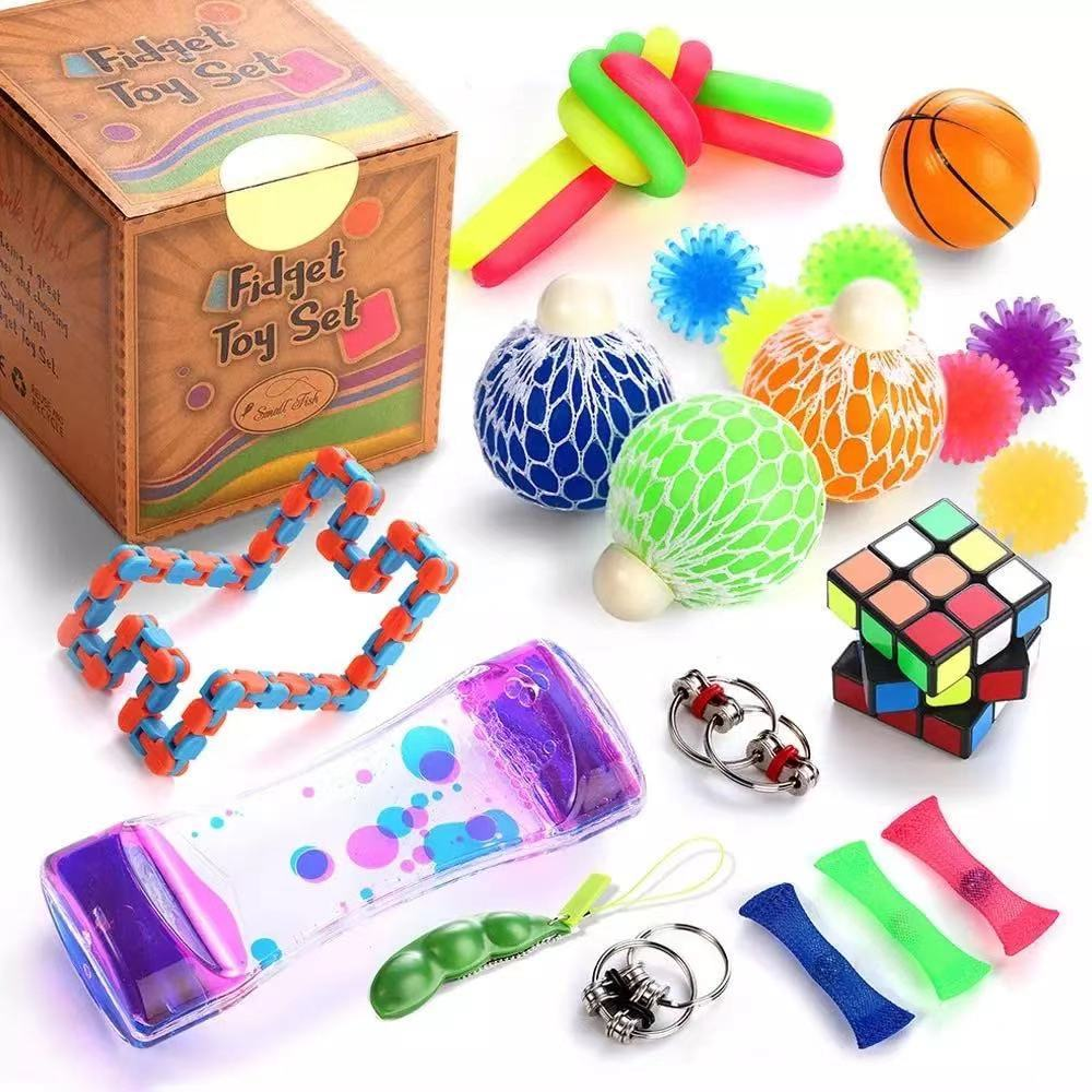 23PCS Pack Fidget Sensory Toy Set Stress Relief Toys Autism Anxiety Relief Stress Pop Bubble Fidget Toys for Kids Adults