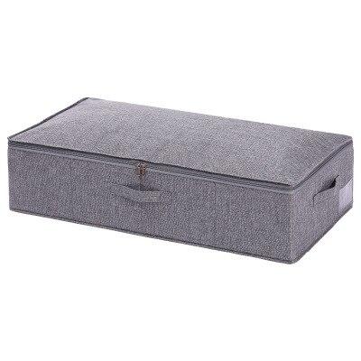 صندوق تخزين للسرير من القطن والكتان ، قابل للطي ، للملابس ، مقاوم للغبار ، مقاوم للرطوبة ، مع غطاء ، سعة تخزين كبيرة b