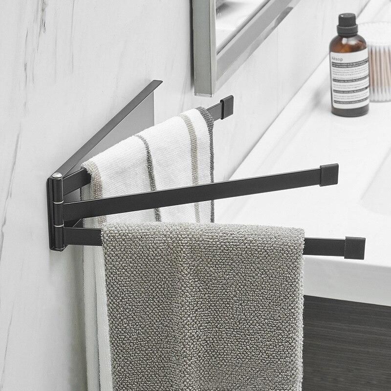 الفولاذ المقاوم للصدأ الدورية منشفة رف حمام السكك الحديدية شماعات منشفة حامل 3 قضبان دوارة الحمام الحائط أبيض أسود شماعات حامل