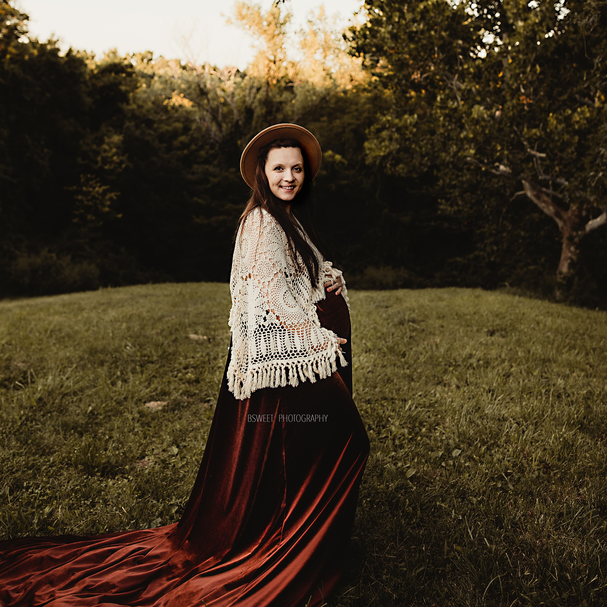 Photo Shoot Boho Cotton Hand Crochet Long Bell Sleeves Maternity  Dress Pregnant Velvet Robe for Woman Photography Accessories enlarge