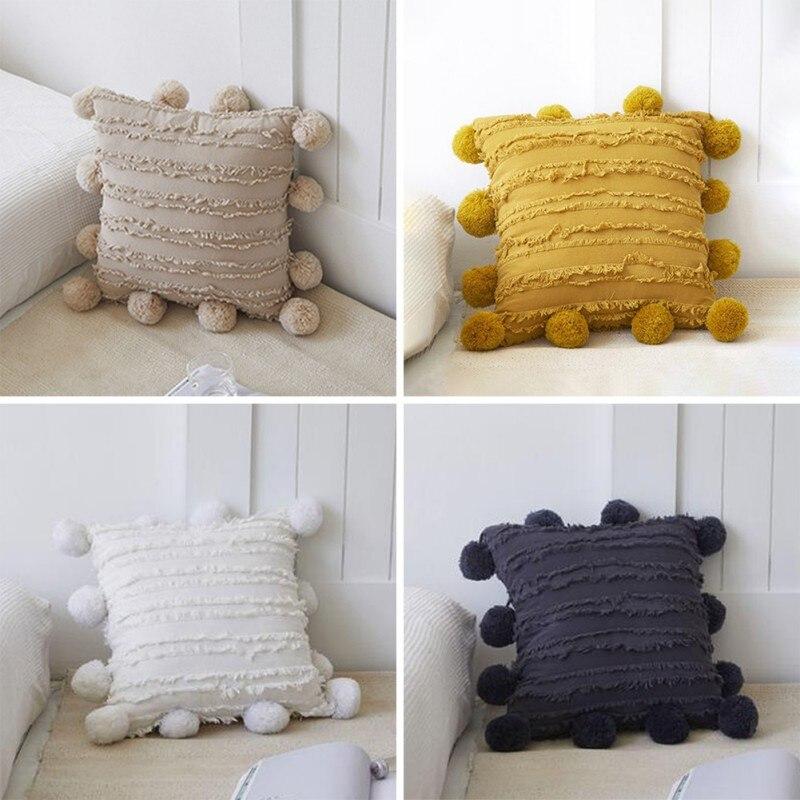 مجموعة من 2 القطن والكتان غطاء وسادة من قماش الجاكار وسادة قطيفة كيس ريشة المخملية وسائد زخرفية ل أريكة/غرفة المعيشة-1