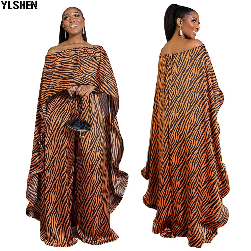 الأفريقية طباعة فساتين للنساء 2 قطعة مجموعة Dashiki قبالة الكتف اللباس السراويل الملابس الأفريقية بازان الشهيرة دعوى Vetement فام