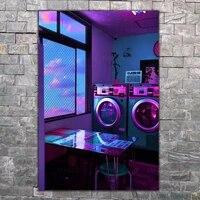 Peinture sur toile avec vagues de vapeur  affiche de meuble dart mural  Machine a laver modulaire  image  decoration moderne douce pour la maison  cadre de chambre a coucher