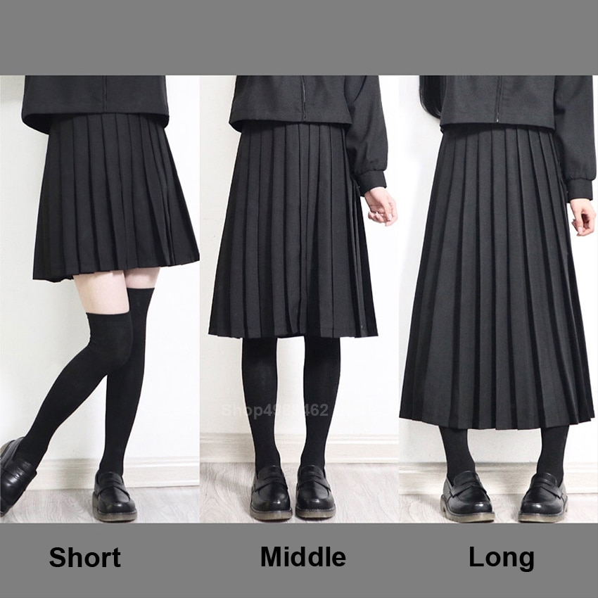 Elastic Waist Japanese Student Girls School Uniform Solid Color JK Suit Pleated Skirt Short/Middle/Long High School Dress
