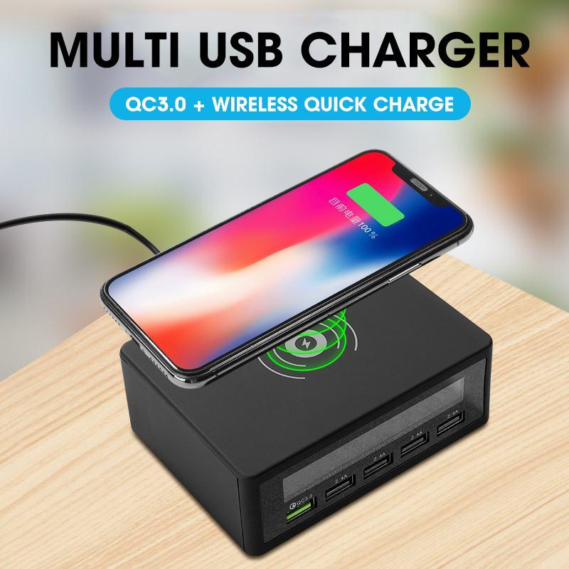 Cargador USB de 5 puertos, pantalla LED inteligente, carga rápida 3,0, adaptador de carga rápida USB 50W, estación de carga inalámbrica inteligente para viajes