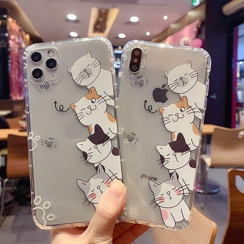 Amigos animales gato de dibujos animados caja del teléfono para iPhone SE 11 X XS X Max XR lindo Tom Cover7 6P suave silicona transparente casos
