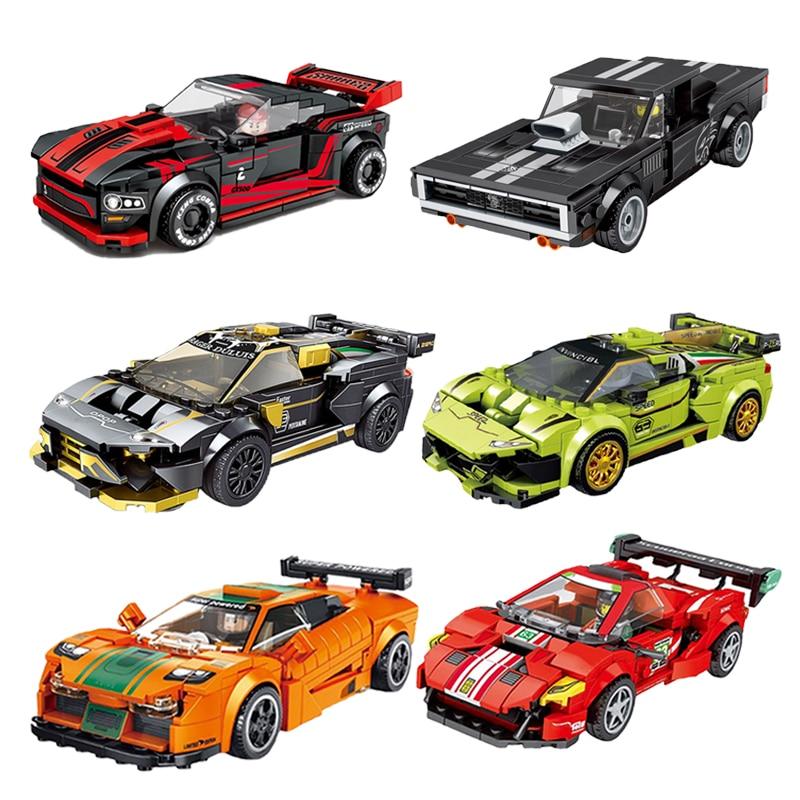 speed-champions-famosa-auto-f8-f1-ford-mustang-gt40-r8-dodge-super-building-blocks-kit-mattoni-modello-classico-giocattoli-per-bambini-regalo