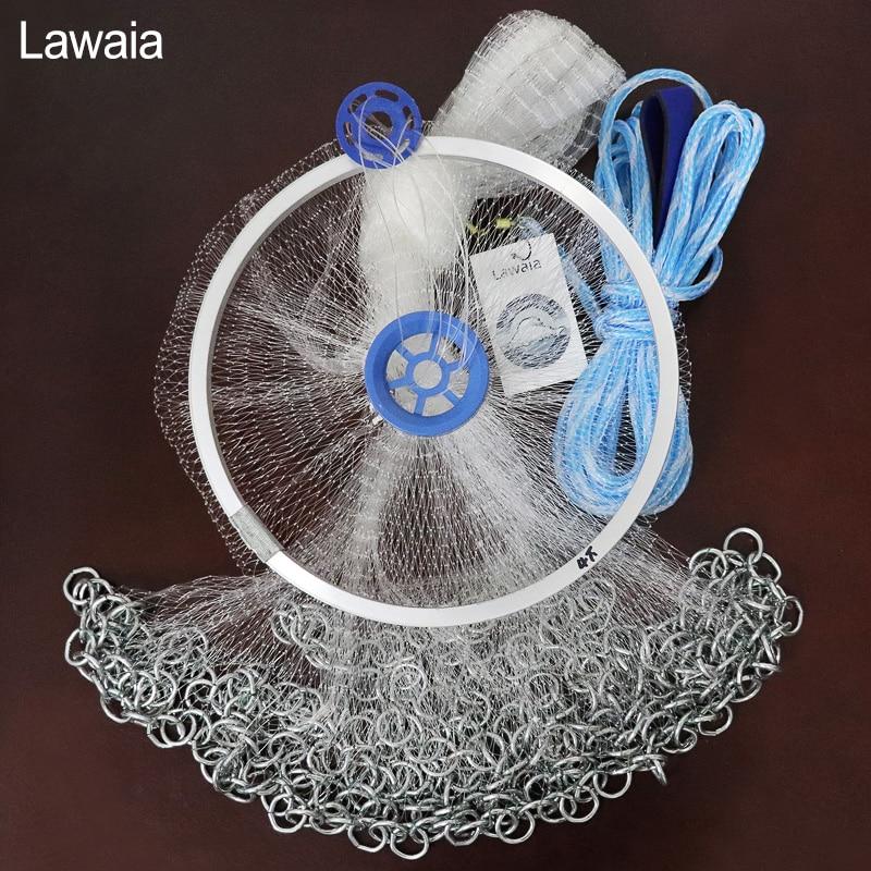 Lawaia 鋳造ネットアメリカの手投げるネット韓国チェーン手スロー小さなメッシュ漁網 Diamter 2.4 M-4.2 M 高品質ネット