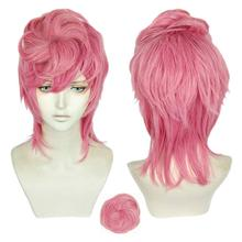 Trish Una Cosplay Pink Wig Anime JOJO Bizarre Adventure Golden Wind Cosplay Wig Hair Halloween Costume Wigs +Wig Cap + A bun