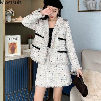 Vintage Women Tweed 2 Piece Sets Outfits Blazer Coat And A-line Mini Skirt Suits 2019 Autumn Winter Korean Elegant Fashion Sets