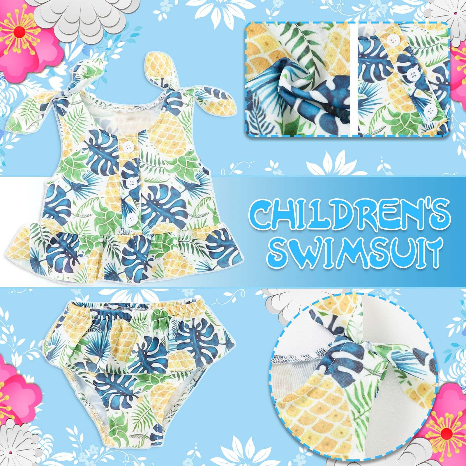 Girls swimwear summer Toddler Girls Baby Summer Pineapple Leaf Print Suspender Swimsuit купальник 2021 new  bañador niña