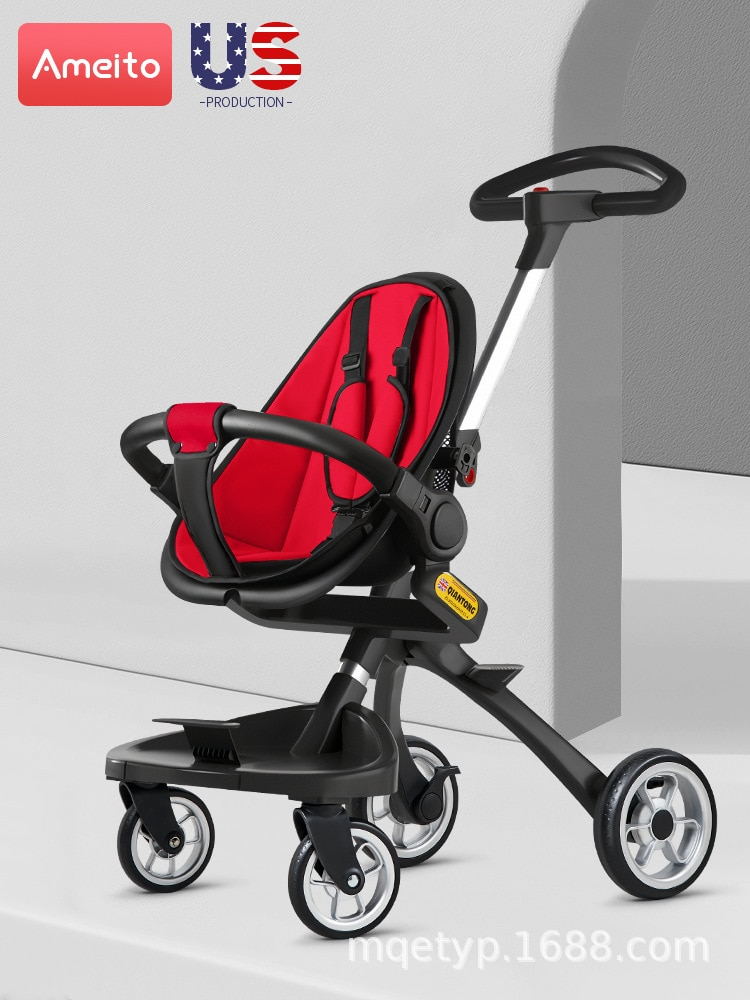 Baby Four Wheels Stroller Travel Reversible Toddler Trolley Can Sit and Lie Folding High View Stroller Newborn Baby Bassinet enlarge