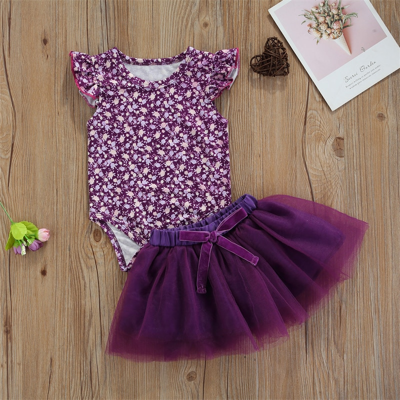 2Pcs Infants Baby Girls Summer Outfits O-Neck Sleeves Romper + Elastic Tutu Skirt with Bowknot Sets For 0-24 Months Girl Clothes