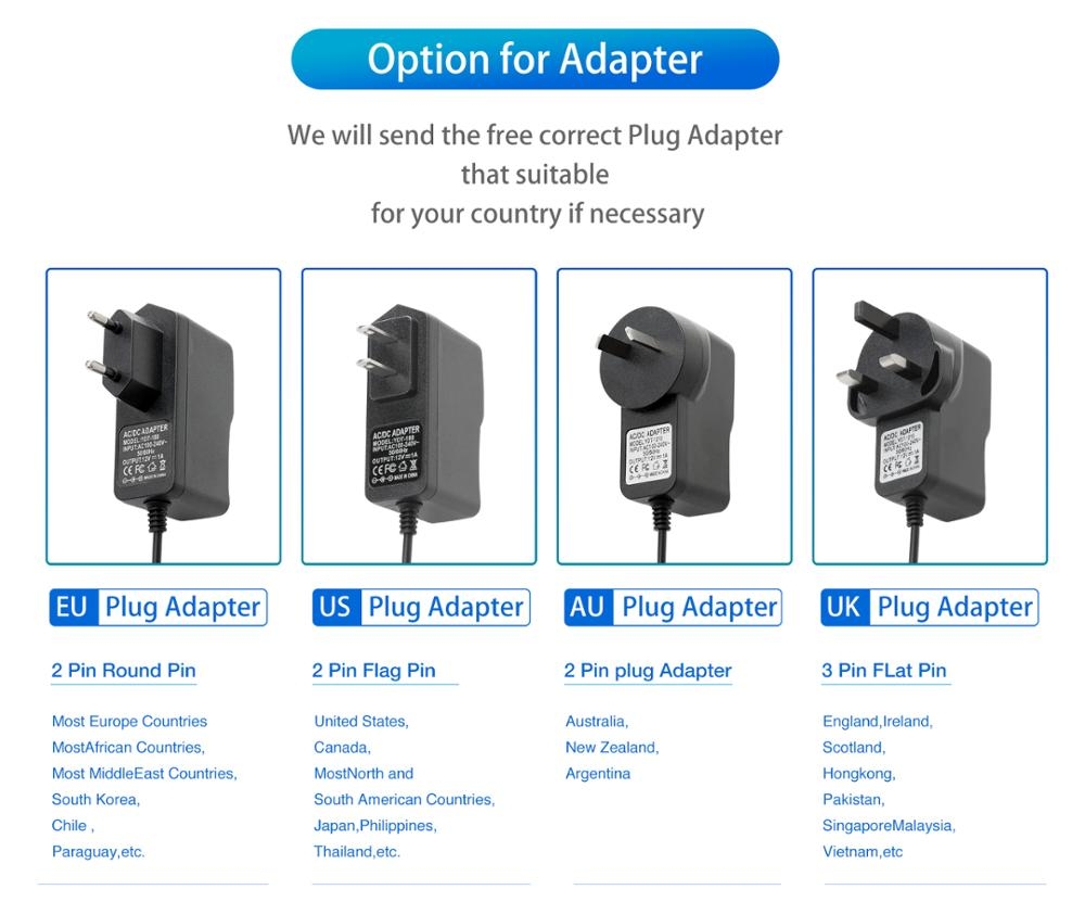 AC100V-240V Power Adapter DC12V 1A Output Power Adaptor Plug Supply Charger 50/60HZ DC 5.5mm x 2.1mm EU/AU/UK/US for CCTV Camera enlarge