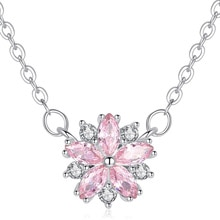 FXM أزهار الكرز الوردي المشاركة قلادة سلاسل للنساء قلادة مجوهرات القلائد هدية للذكرى السنوية الموضة اللون الكلاسيكي