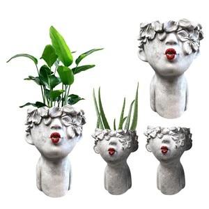 Small Kissing Women With Painted Lips Re D Head Planter Garden Image Garden Jardín Flower Pot Garden Home Decoration