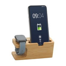 Зарядная док станция для смартфонов с бамбуковым основанием, держатель для телефона, подставка для смарт часов, настольная подставка для офисного стола, для телефонов и часов