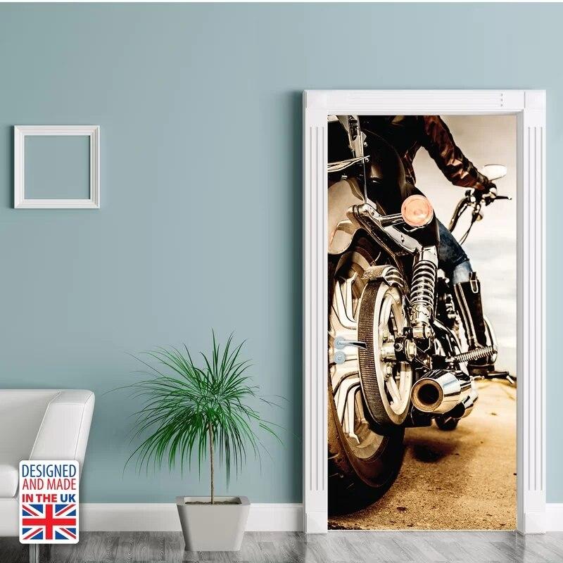 Papel pintado autoadhesivo impermeable pegatinas para puertas de motocicletas decoración 3D para el hogar renovar papel Mural de PVC impresión artística para dormitorio