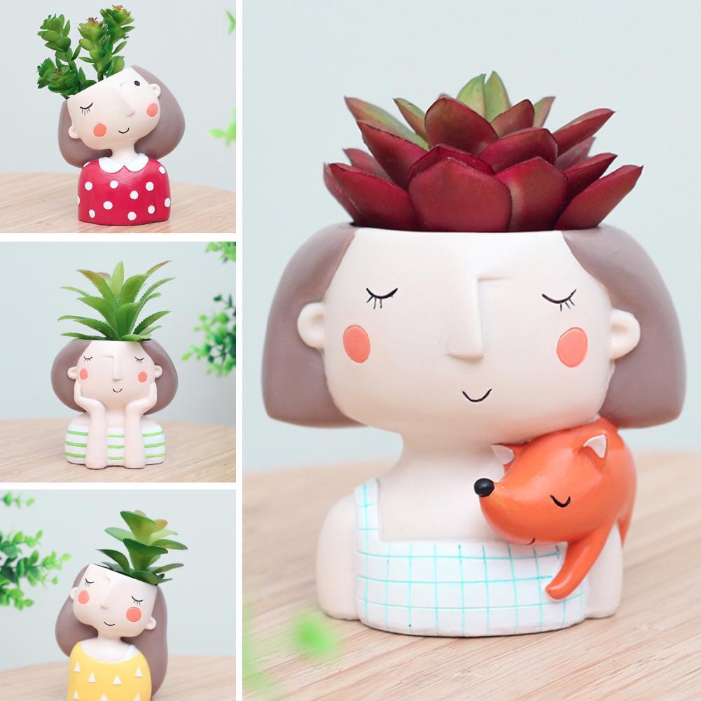 Cute Cartoon Girl Succulent Plant Resin Flower Pot Bonsai Ornament Desktop Decor Flower Pot Planter Garden Bonsai Pots Gift Girl