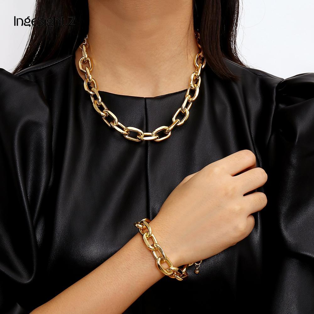 IngeSight.Z Vintage Miami cubain épais collier ras du cou Punk charme gros métal lourd collier Bracelet ensemble pour hommes femmes bijoux