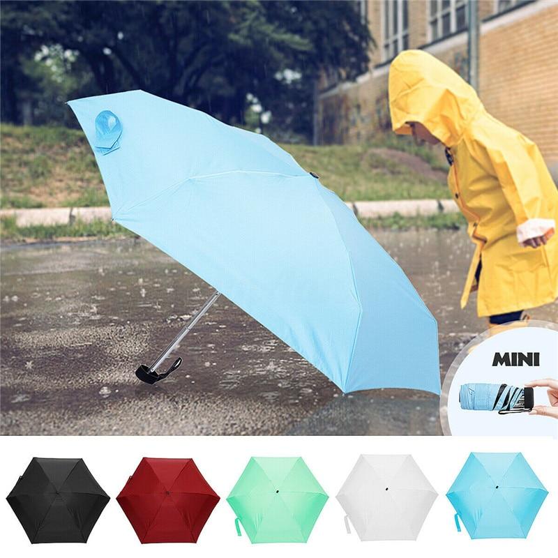 180g ultraligero de bolsillo Mini paraguas lluvia a prueba de viento Durable 5 paraguas de sol plegables portátil fresco Parasol de protección solar