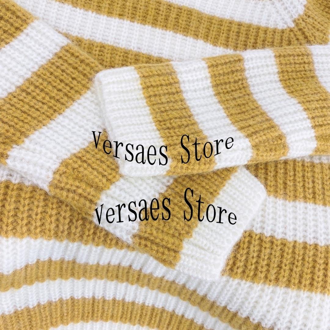 21 luxury design stripe splicing fashion women's long sleeve cashmere Pullover temperament round neck versatile knitting sweater enlarge