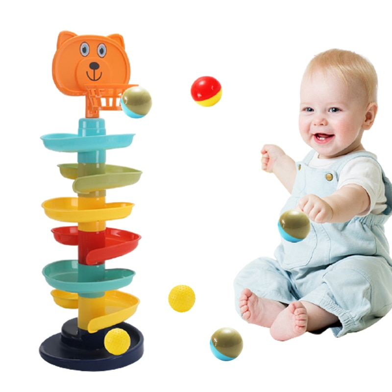 Rolling Ball Pile Tower Puzzle Babys Toys Rattles Spin Track Montessori Educational Newborn Toys For