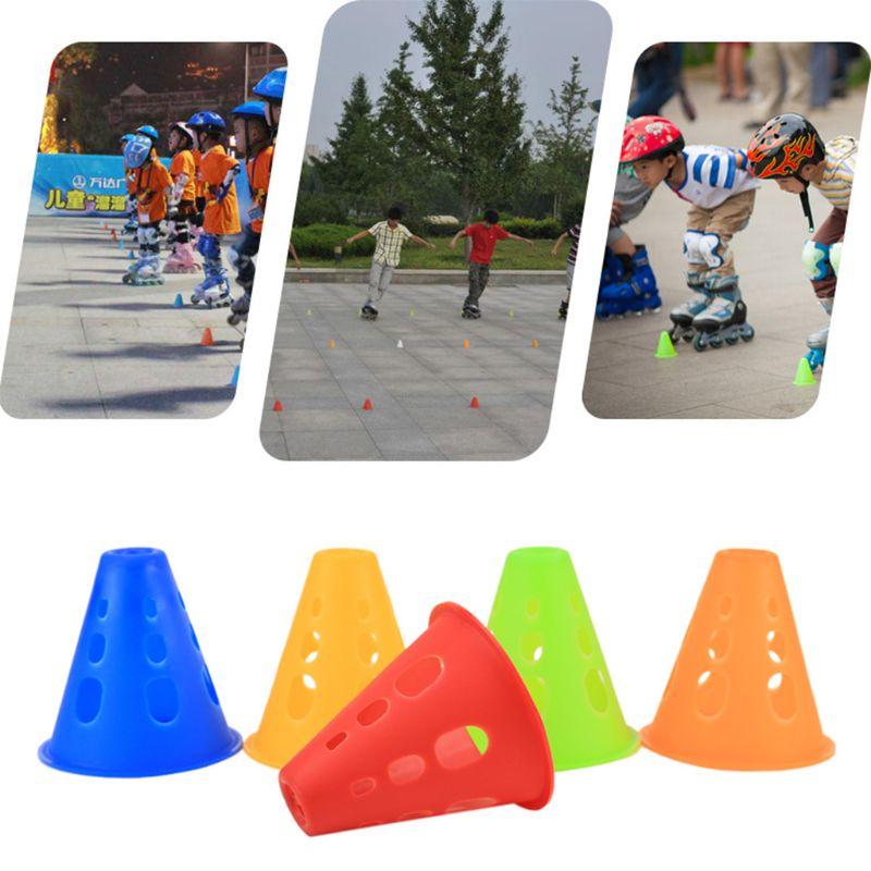 50 PCs Slalom Cones Plot 50 Pcs Hole Anti-Wind Skating Multicolor Pile Obstacle Marker Roller Skating Marking Cups