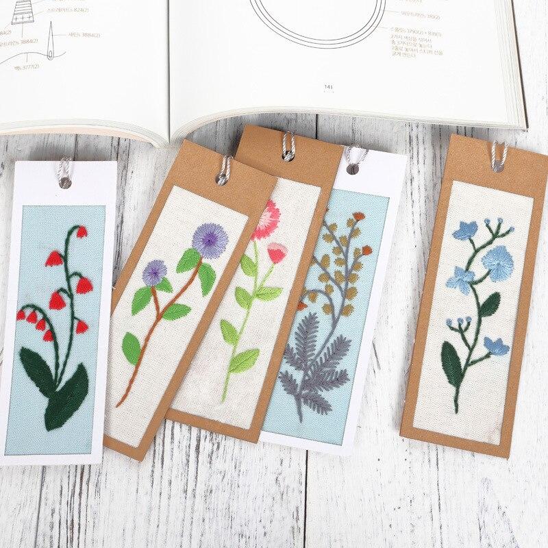 5 pçs diy artesanato stich ponto cruz bookmark natal tecido de plástico bordado bordado artesanato contado kit de costura cruzada