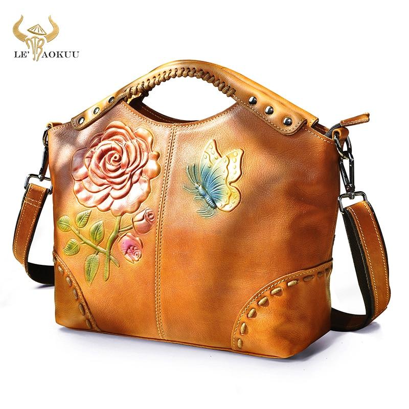 Flower Emboss Real LEATHER Famous Brand Luxury Ladies Large Shopper handbag Shoulder bag Women Desig