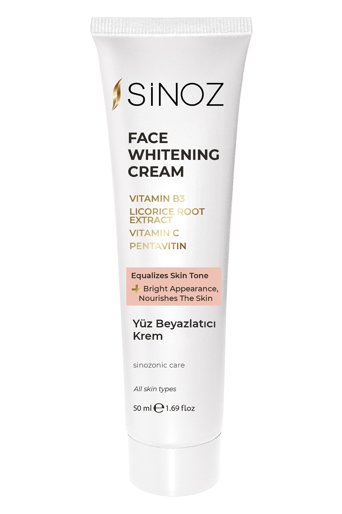 Sinoz Face Whitening Cream with Vitamin B3, licorice root extract, vitamin C and pentavitin extract, a bright and smooth skin