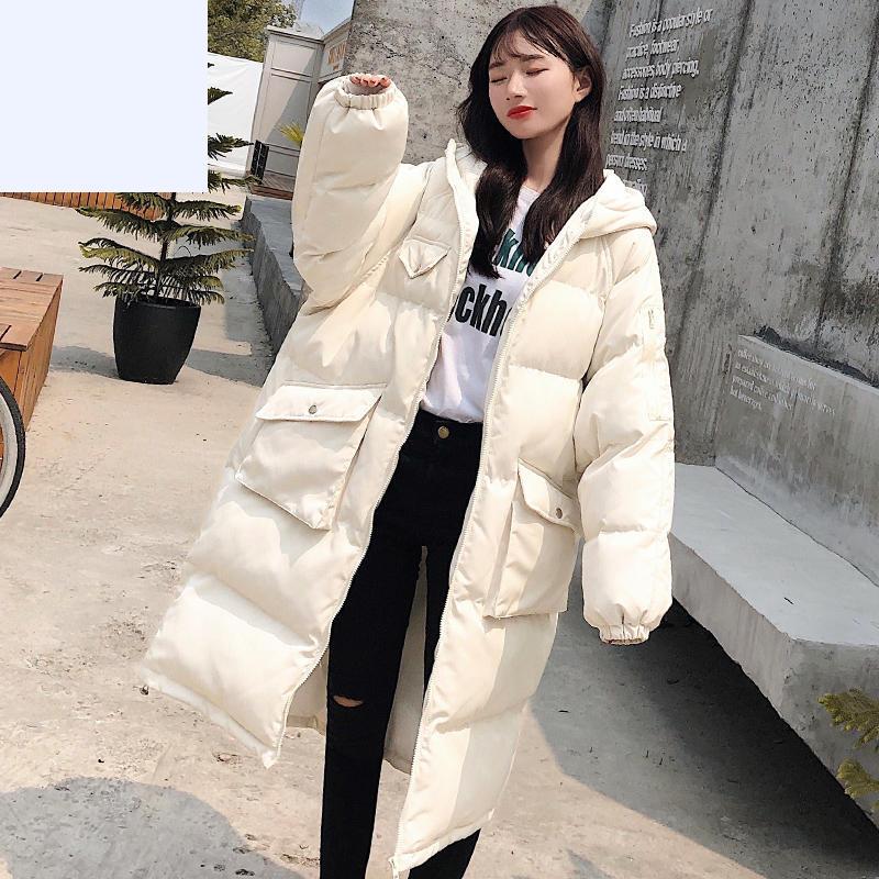 Chaqueta de invierno larga de talla grande para mujer, abrigo de algodón...