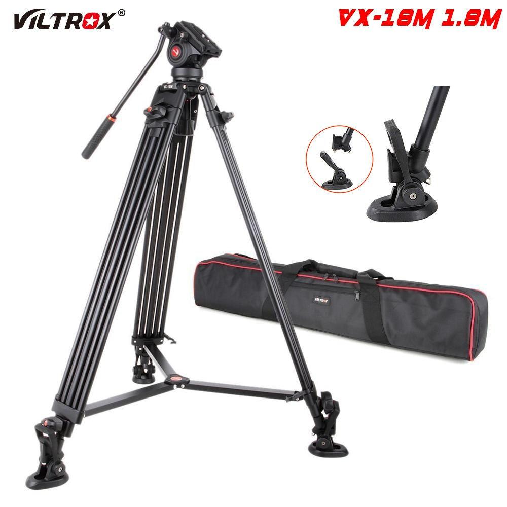 Viltrox VX-18M المهنية المحمولة الثقيلة مستقرة الألومنيوم عدم الانزلاق فيديو ترايبود الهيدروليكية رئيس ل كاميرا فيديو DV 1.8 متر