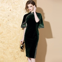 2019 vintage chinois soirée soirée velours robe vert moderne cheongsam qipao