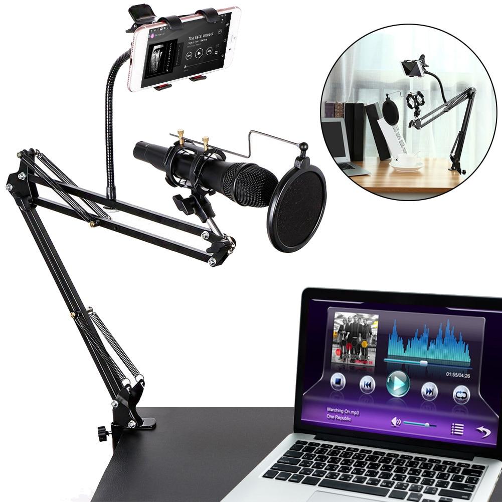 Soporte de micrófono de grabación extensible de alta calidad soporte para brazo de tijera de suspensión soporte para el brazo con pinza de micrófono abrazadera de montaje de mesa